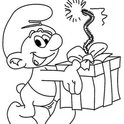 Смурфик с подарком