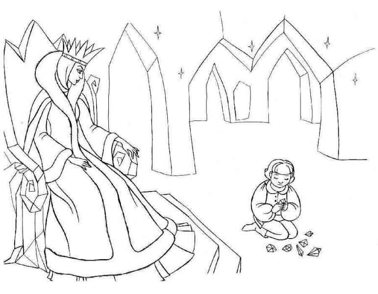 Сненая королева смотрит как играет кай