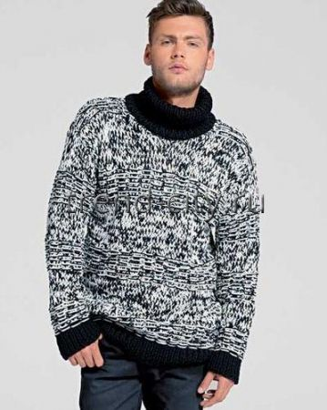 Двухцветный мужской свитер спицами