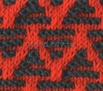 Многоцветный узор спицами № 19