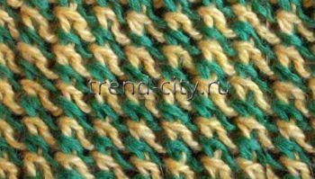 Многоцветный узор спицами Штрихи
