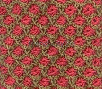 Многоцветный узор спицами № 8