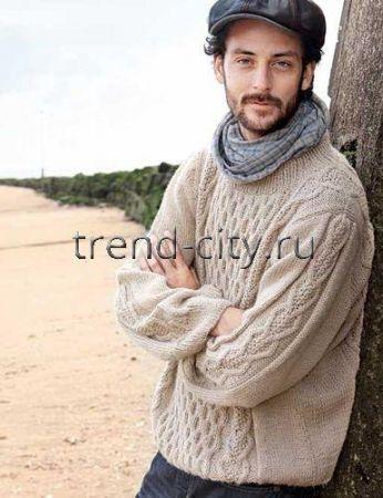 Мужской пуловер спицами с косами