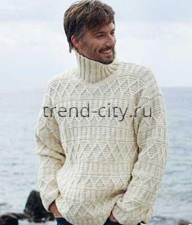 Мужской пуловер спицами с рельефным узором