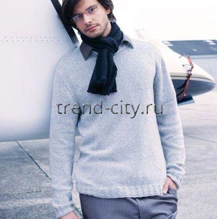 Мужской пуловер спицами с резинкой с косами