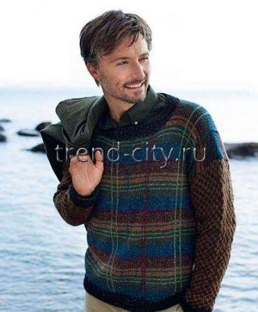 Мужской пуловер спицами в шотландскую клетку