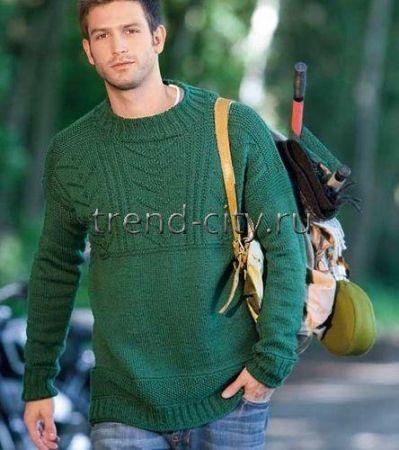 Мужской пуловер спицами зеленого цвета