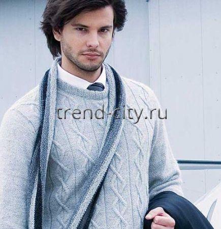 Мужской шарф спицами в полоску