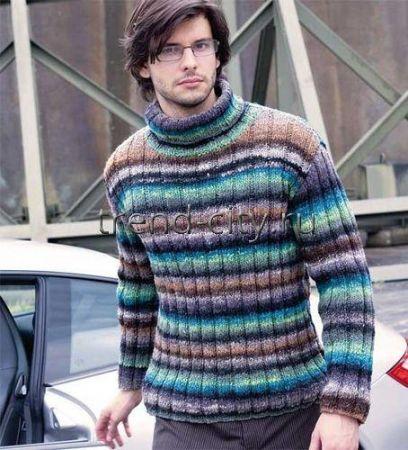 Мужской свитер спицами в полоску