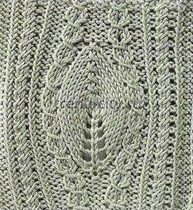 Объемный узор спицами - Крупный лист и перекрещенные петли