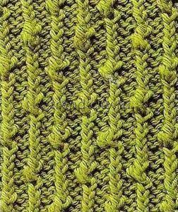 Объемный узор спицами - Резинка спицами с узелками