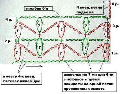 Объемный узор крючком 8428