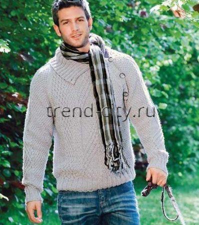 Пуловер спицами с ирландскими узорами