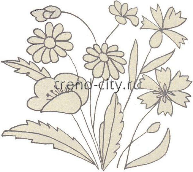 Схема вышивки гладью полевых цветов