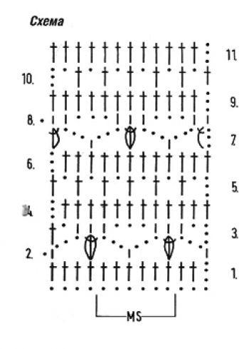 Ажурный узор крючком окошки
