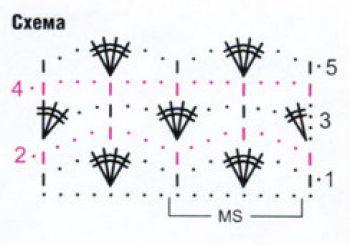 Схема: Ажурный узор крючком № 9485