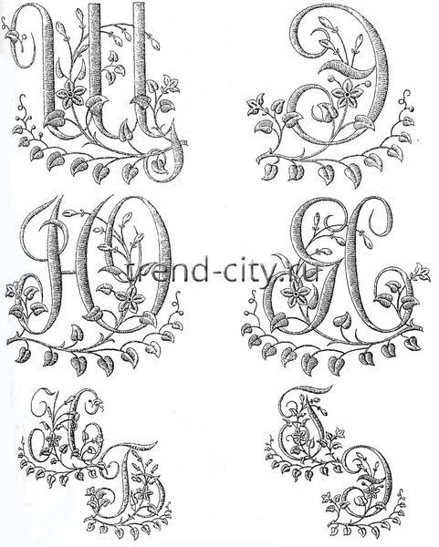 Схемы для вышивки буквы гладью на