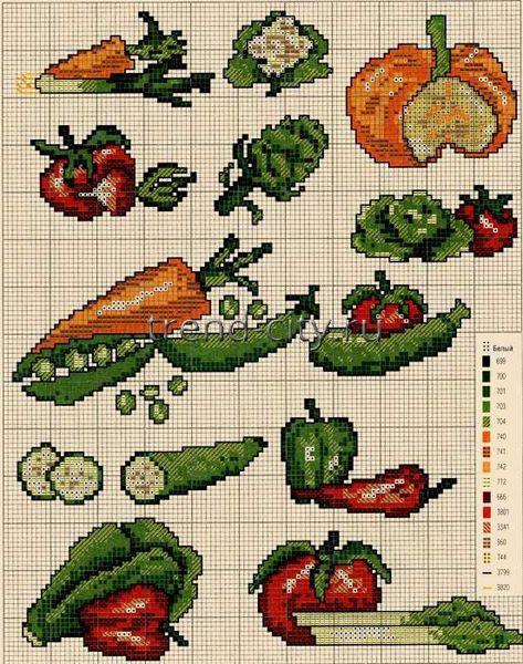 Схема вышивки крестом фрукты или овощи 843