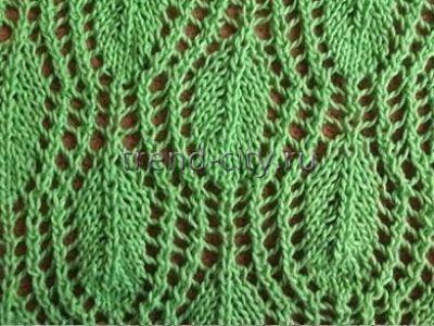 Простой узор спицами - Ажурные листочки