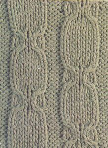 Рельефный узор спицами полосы с медальонами