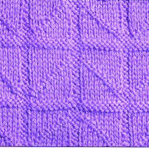 Рельефный узор спицами диагонали по квадратам