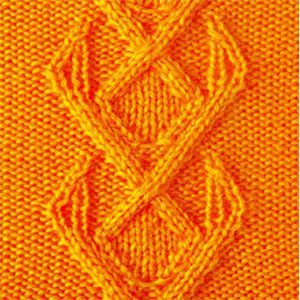 Рельефный узор спицами полосы из ромбов
