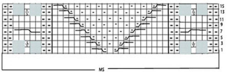 Рельефный узор спицами уголки с восьмеркой