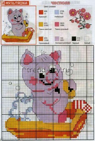 Схема вышивки крестом - Свин чистюля - вышивание на trend-city.ru