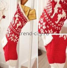 Чулок для рождественских подарков спицами