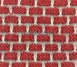 Многоцветный узор спицами Кирпичики