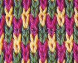 Многоцветный узор спицами Радужный дождик