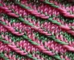 Многоцветный узор спицами Тканое полотно
