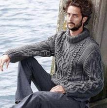 Мужской свитер спицами с косами