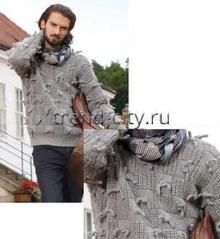 Мужской свитер спицами с узелками