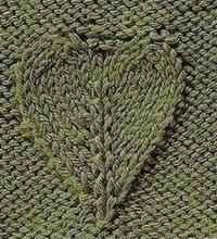 Объемный узор спицами - Лист в виде сердца