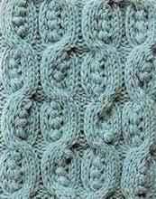 Объемный узор спицами - Витая коса с листьями и шишечками
