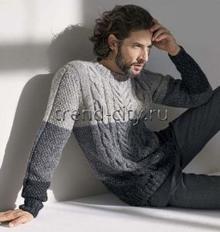 Джемпер спицами с полосами и рельефным узором