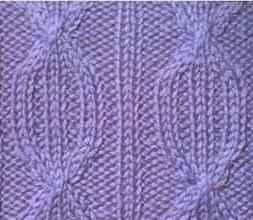 Плотный узор спицами рельефы из перемещенных петель