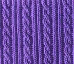 Плотный узор спицами полосы из косичек и резинки