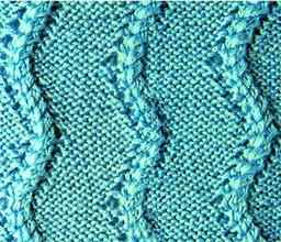 Рельефный узор спицами зигзагообразные косы