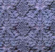 Рельефный узор спицами листья с косами