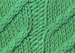 Рельефный узор спицами косы с диагональю