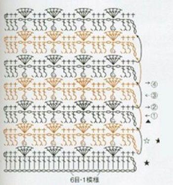 Жаккардовый узор крючком № 7147